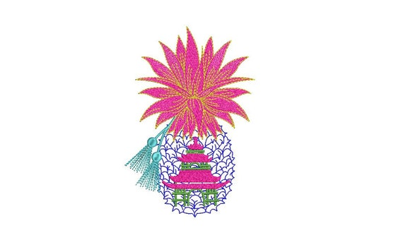 Chinoiserie Pagoda Pineapple Embroidery - Machine Embroidery Tropical Summer Pineapple Embroidery File design 5x7 hoop