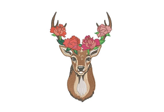Deer Embroidery Design - Machine Embroidery Deer Antlers With Roses Bohemian Machine Embroidery File design 5x7 hoop