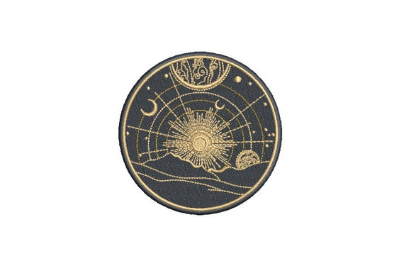 Space Landscape Patch Design - Machine Embroidery File design - 4x4 inch hoop - Space Embroidery Design - Stars