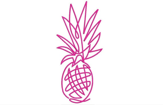 Neon Sign Pineapple Machine Embroidery File design - 5 x 7 inch hoop - Pineapple Silhouette