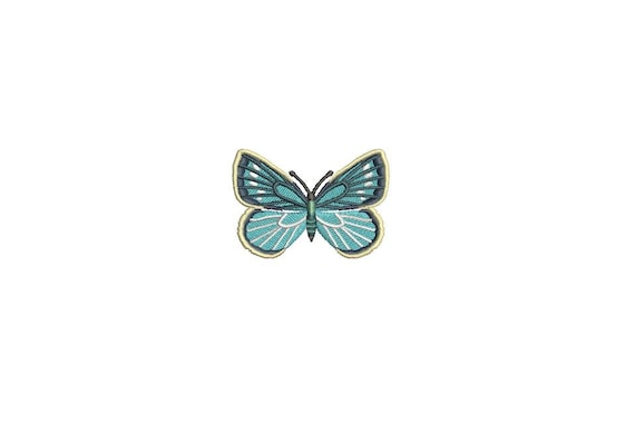 Butterfly Embroidery - Blue Butterfly 4 Machine Embroidery File design 4x4 inch hoop - Mini 5cm