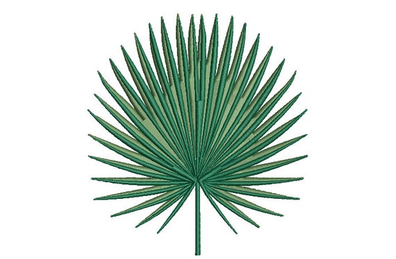 Fan Palm Leaf Machine Embroidery File design - 5 x 7 inch hoop - Palm Silhouette -  Brother Embroidery