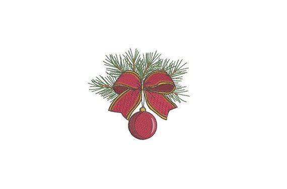 Christmas Branch Embroidery - Machine Embroidery File - design 4x4 inch hoop - Xmas Embroidery Design