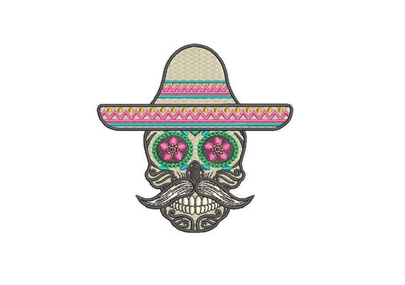 Skull Embroidery - Mexican Sombrero Skull Machine Embroidery File design 4x4 inch hoop - Instant download PES plus all formats