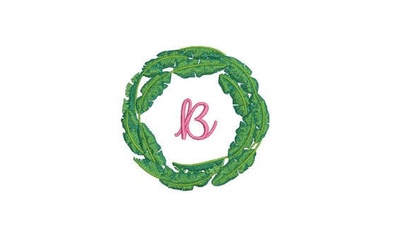 Banana Leaf Wreath Embroidery - Hamptons Design - Machine Embroidery File design - 4 x 4 inch hoop - Instant Download
