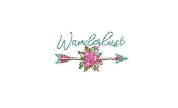 Wanderlust Rose Arrow Machine Embroidery File design - 4x4 inch hoop - Bohemian Embroidery Design