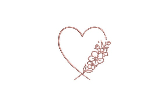Heart Flowers Monogram Frame Machine Embroidery File design -  4 x 4 inch hoop - Heart embroidery design