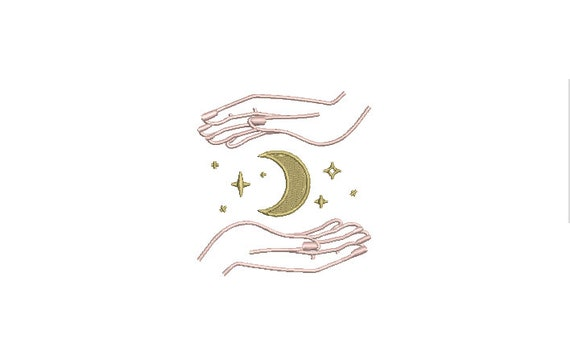 Moon Hands Stars Machine Embroidery File design - 3 x 3 inch hoop  - instant download