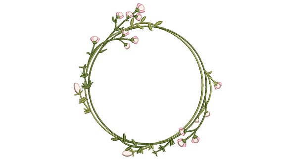 Pink Flower Circle Wreath Embroidery - Machine Embroidery File - design 8x8 inch hoop - Monogram frame
