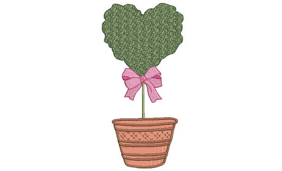 Heart Topiary Tree Embroidery Design -  Machine Embroidery File design - 5 x 7 inch hoop - Instant Download