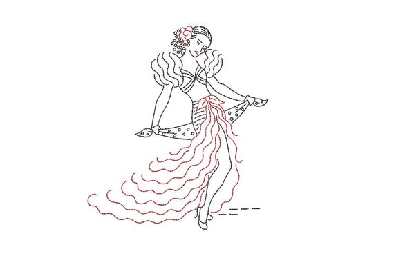 Vintage Flamenco Dancer embroidery -  Machine Embroidery File design - 5x7 hoop - Colorwork - instant download