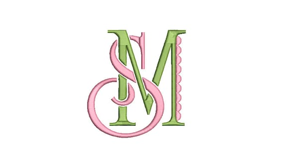 Fancy S M Monogram -  Machine Embroidery File design - 4x4 inch hoop -  Monogram Design - No other combinations available.