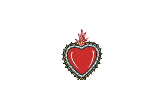 Milagro Charm Heart Mexican Folksy Machine Embroidery File design 4 x 4 inch hoop
