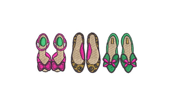 Fancy Shoes Machine Embroidery File design - 4x4 hoop - instant download - shoe addict design