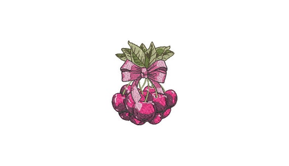 Cherries & Bow Machine Embroidery File design - 4x4 inch hoop - Cherry Embroidery Design