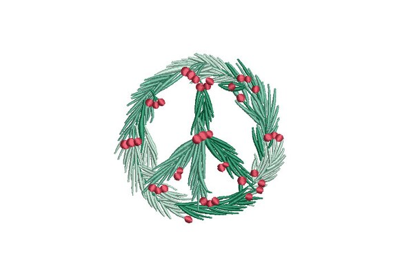 Peace Xmas Holly Wreath Embroidery - Machine Embroidery File - design 4x4 inch hoop - Monogram frame - Christmas Embroidery Design