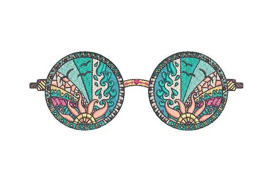 Boho Sunnies Machine Embroidery File design 5 x 7 inch hoop - instant download - Hippie Sunglasses Machine Embroidery
