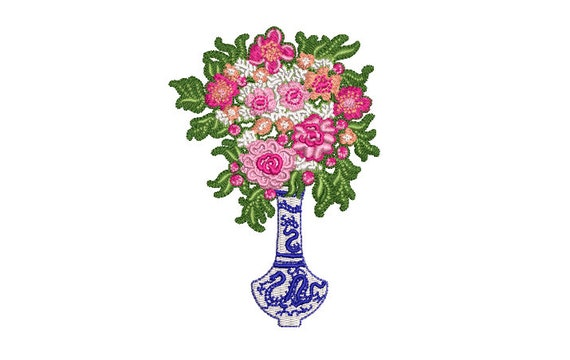 Chinoiserie Vase with Flowers - Machine Embroidery File design - 4x4 hoop - Chinoiserie Chic