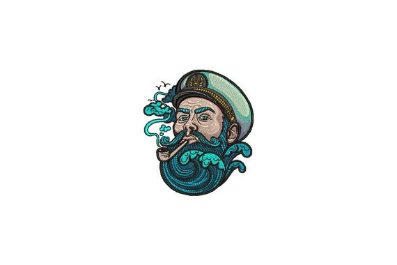 Bearded Sailor Embroidery - Retro Seaman Sailor Tattoo Machine Embroidery File design 4 x 4 inch hoop - instant download