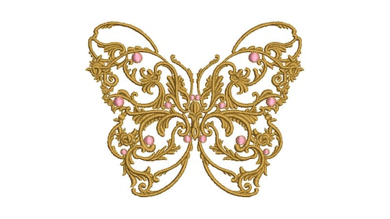Baroque Butterfly Machine Embroidery File design - 4x4 inch hoop - Gold Butterfly design