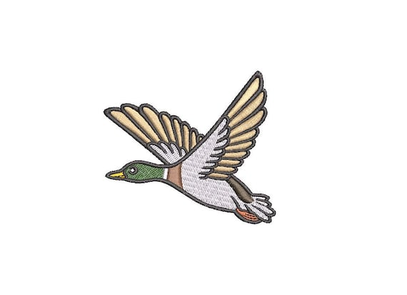Flying Duck Machine Embroidery File 6cm - 4 x 4 inch hoop - Bird embroidery file - Mini Machine Embroidery Design digital download