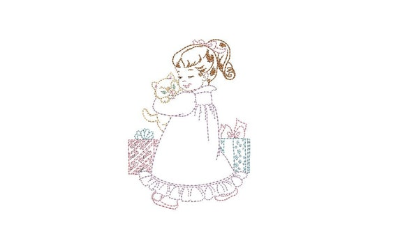 Vintage Xmas Kitty Girl Colorwork - Machine Embroidery File design - 4x4 inch hoop - instant download