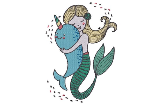 Mermaid Embroidery Design - Machine Embroidery Mermaid & Narwhal File design - 5x7 inch hoop - Instant download