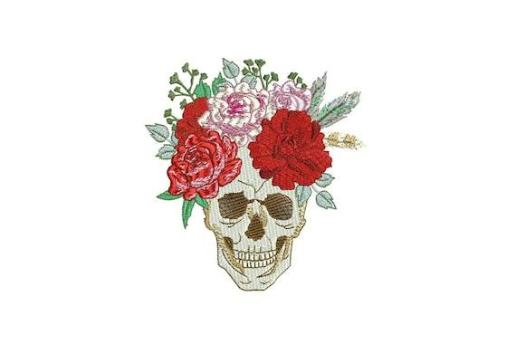 Boho Gypsy Rose Skull Bohemian Machine Embroidery File design 5x7 hoop