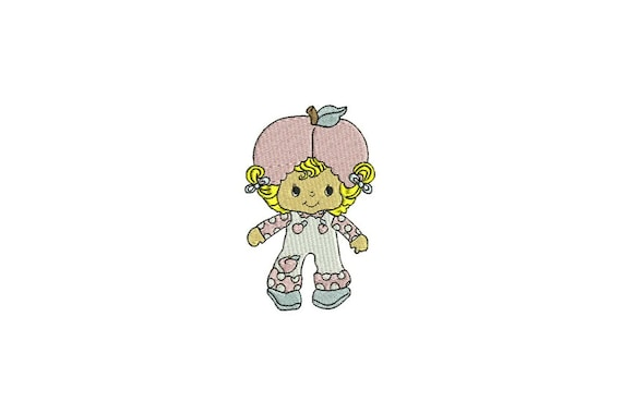 Vintage Apricot Doll Machine Embroidery File design 4x4 inch hoop
