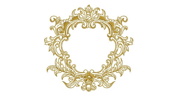 Baroque Flower Frame - Machine Embroidery File design - 5x7 inch hoop - Monogram Frame