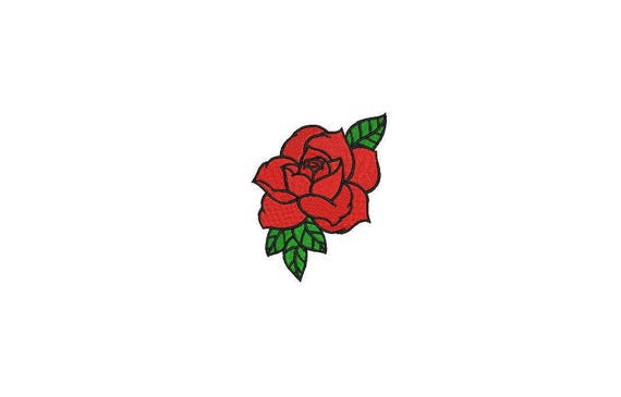 Red Rose Machine Embroidery File design 6cm - 4 x 4 inch hoop - Rosette - Rose Silhouette