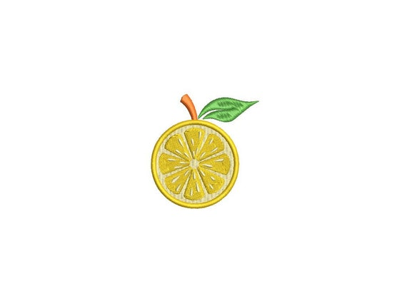 Lemon Mini Sliced Citrus - Machine Embroidery File design - 6cm - 4 x 4 inch hoop  - embroidery patch design