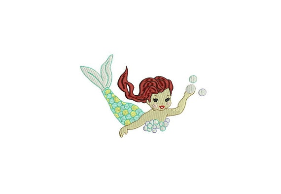 Mermaid Embroidery Design - Whimsical Red Hair Mermaid Machine Embroidery File design - 5x7 inch hoop - instant download