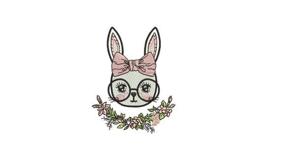 Machine Embroidery - Bunny with Glasses & Bow - Flowers - Embroidery File design - 4x4 inch hoop