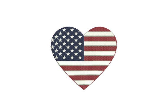 American Flag Heart 9cm - Machine Embroidery File design 4 x 4 inch hoop - love