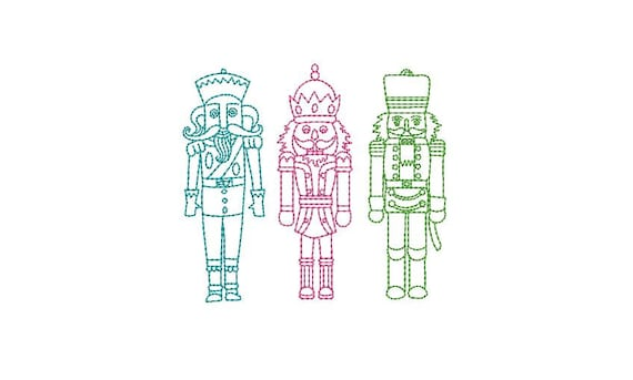 Nutcracker Soldiers Christmas Xmas - Machine Embroidery File design - 4x4 inch hoop - instant download