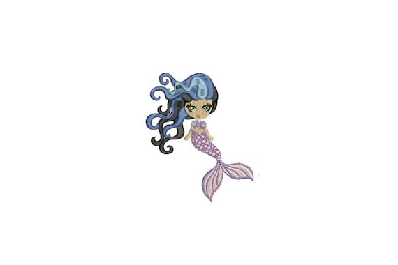Mermaid Embroidery Design - Mermaid Doll Lilac Machine Embroidery File design 4x4 inch hoop