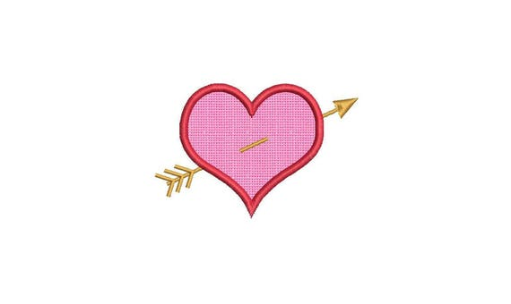 Heart & Arrow Appliqué Machine Embroidery File design 4 x 4 inch hoop - instant download