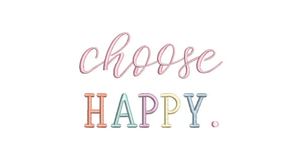 Choose Happy Machine Embroidery File design  - 5 x 7 inch hoop - Rainbow Embroidery Design
