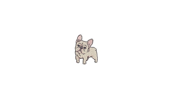 Mini Frenchie Puppy Machine Embroidery File design - 4x4 inch hoop - French Bulldog Embroidery