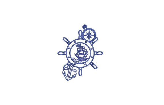 Ships Wheel Anchor Nautical Machine Embroidery File design 4x4 inch hoop - Silhouette Boat