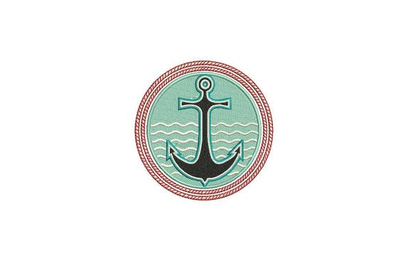 Anchor Circle Machine Embroidery File design 4x4 inch hoop - Monogram