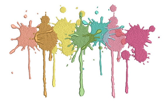 Pastel Paint Splatter Machine Embroidery File design - 8x12 inch hoop - Instant Download - Jumbo Hoop