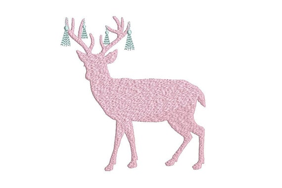 Christmas Deer Embroidery - Machine Embroidery File design  - 5x7 hoop - Christmas Embroidery