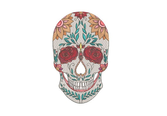 Skull Embroidery Design - Machine Embroidery Boho Mexican Sugar Skull Bohemian Machine Embroidery File design 5x7 hoop