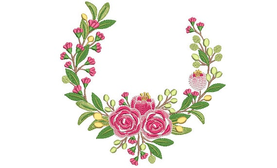 Pink Green Wreath Embroidery - Machine Embroidery File - design 8x8 inch hoop - Monogram frame - Roses Embroidery