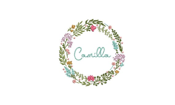 Boho Wildflower Wreath- Machine Embroidery File design - 4x4 inch hoop - monogram Frame - Instant download