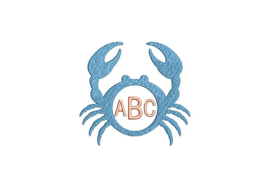 Crab Monogram Frame Embroidery - Machine Embroidery File design - 4x4 inch hoop - Beach Embroidery