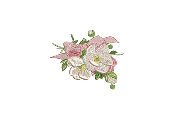 Machine Embroidery Whimsical Magnolia, Roses and Bow Machine Embroidery File design 4 x 4 inch hoop - in the hoop - instant download