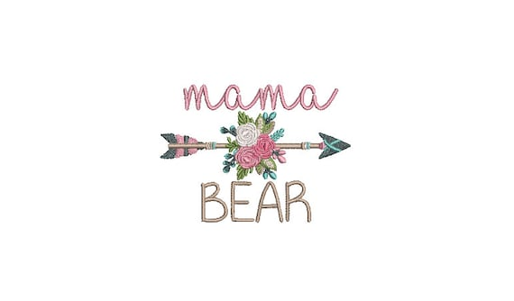 Mama Bear Embroidery Design -Boho Flower Arrow Machine Embroidery File design - 4x4 inch hoop